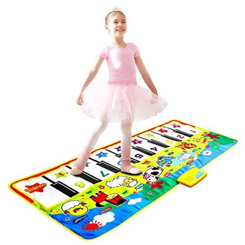 m zimoon Klaviermatte, Kinder Musikmatte Kinder Berühren Empfindlich Abspielen Musikalischer Teppich Klavierbodenmatte Tanzmatte für Kinder Jungen Mädchen Kleinkinder (135 * 58 cm)