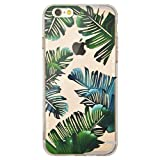 iPhone 6 / 6S Funda, OFFLY Transparente Soft Suave Cáscara, Grueso Fortalecer Protección Case Cover, Creativa Patrón Shell para Apple iPhone 6 / iPhone 6S - Hojas Tropicales