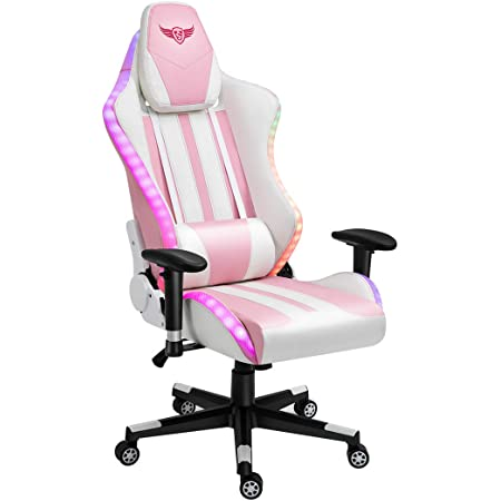 Boomersun Gaming Chair with RGB Light Ergonomic Office Chair Racing Style Backrest and Seat Height Adjustable 3D Armrests Swivel Computer Chair Video Game Chair with Headrest and Lumbar Support Black