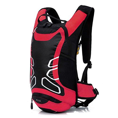 JZK® zaino zainetto impermeabile con copertura per casco, ha fori per sacchetto di acqua, 42x17x23 cm, 12 litri, per ciclismo escursionismo corsa campeggio camminata alpinismo, rosso