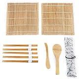 dgtrhted Kit de fabricación de Sushi de bambú de 9pcs / Set Incluye 2 colchones enrollables 5 Palillos 1 Paleta 1 Hoja de Sushi