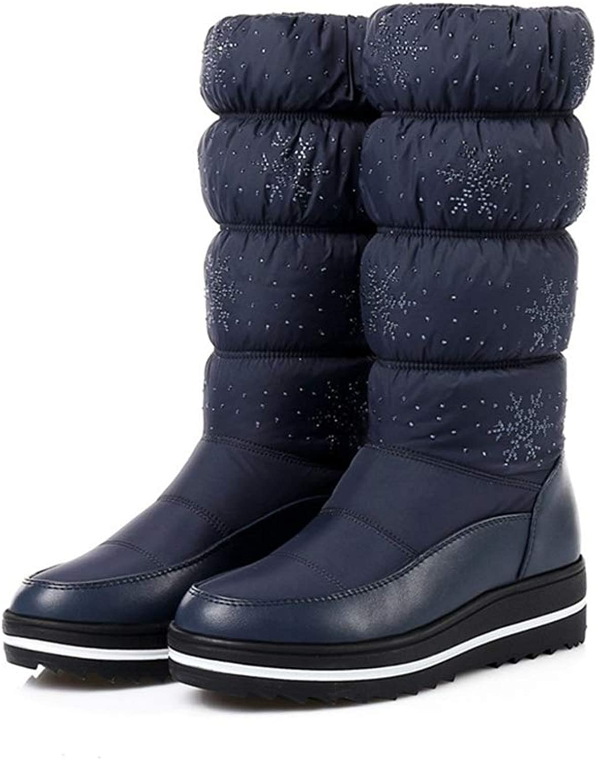 Hoxekle Women Mid Calf Snow Boot Thick Cotton Waterproof Round Toe Flat Black bluee Female Outdoor Long Boots