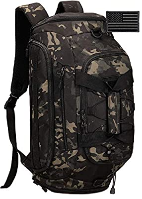 Protector Plus Tactical Duffle Bag Men Sports Gym Backpack Military MOLLE Luggage Suitcase Travel Camping Outdoor Rucksack (Rain Cover & Patch Included), Black Camo, 35L