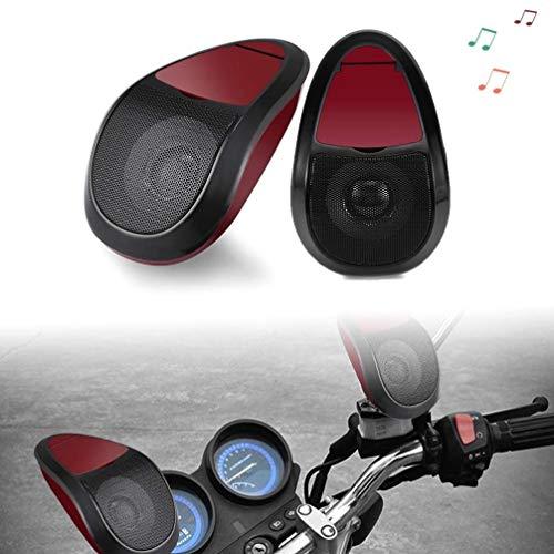 YUNB 2pcs rot Motorrad Stereo-Lautsprecher MP3-Musik-Player FM-Radio wasserdicht Bluetooth-Sound mit LED-Licht