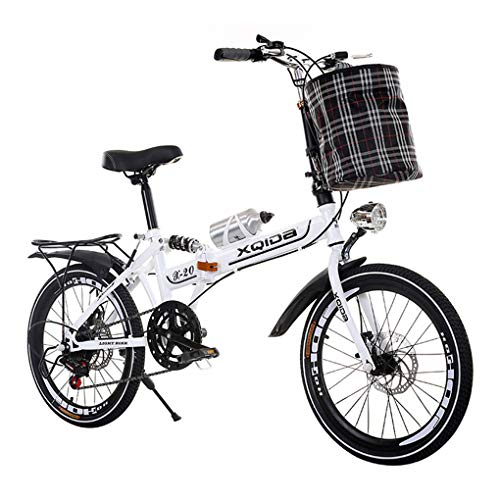 Fantastic Deal! AOHMG 20'' Folding Bike, 7-Speed Lightweight Steel Frame Foldable City Bicycle, Unis...