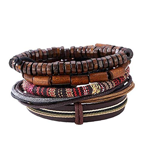 Popular Multi-Layer Leather Bracelet with Vintage Hippy Natural Wooden Beads Rope Braided Bangle Cool Leather Wristband Bracelet for Man Woman Personal Items