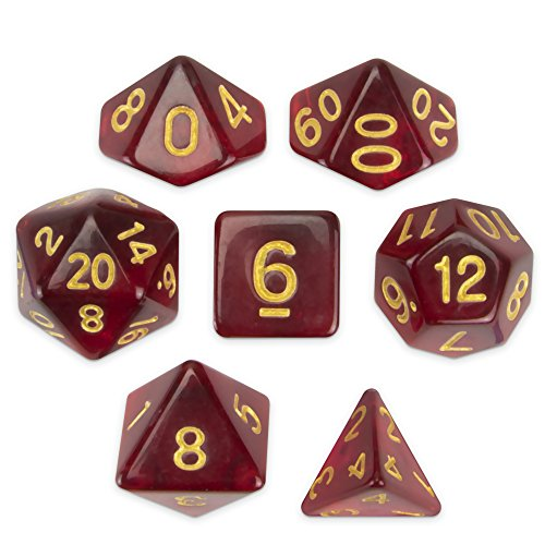 Wiz Dice Blood Lust Set of 7 Polyhedral Dice, Translucent Dark Crimson Red Tabletop RPG Dice with Clear Display Box