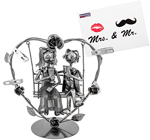 Brubaker Hochzeitspaar auf Einer Schaukel - kreatives Geldgeschenk oder Fotogeschenk - inkl. Grußkarte
