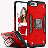 YmhxcY Phone Case for iPhone 8 Plus/iPhone 7 Plus/iPhone 6 Plus with HD Screen Protector,Armor Grade with Rotating Holder Kickstand Non-Slip Hybrid Rugged Case for iPhone 8 Plus 5.5'-KK Red