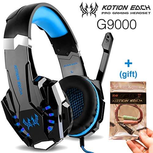 Kotion Each G9000 Fone de ouvido Gamer Headset Reduz Ruídos Supra-Auricular Microfone Luz LED PC PS4 Xbox Laptop Nintendo PUBG Azul