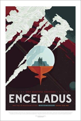 Poster 61 x 91 cm: Retro Space Travel - Enceladus von Editors Choice - hochwertiger Kunstdruck, neues Kunstposter