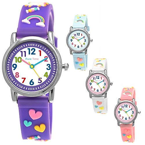 Pure Time® Einhorn Unicorn Kinder-Uhr Mädchen-Uhr Kinder Armband-Uhr Pferd Pony Tier Silikon Armband Mädchen Uhr Kinderuhr Weiß Rosa Lila Türkis Gelb Lern-Uhr Schul-Uhr 3D (Einhorn-Lila)