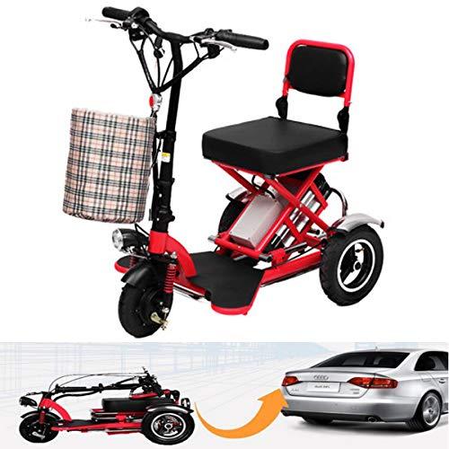 Electric Scooter Mini Triciclo eléctrico Plegable Negro para Adultos/discapacitados Ancianos con batería de Litio Scooter portátil 48V Puede durar 60 km (no Requiere instalación Manual) Red