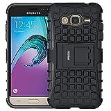Coque Galaxy J3, Galaxy J3 (2016) Coque, Fetrim Armor Support Protection Étui,Anti Chocs Bumper Étui Hybride Protection Housse Cover pour Samsung Galaxy J3 (2016) (Noir)