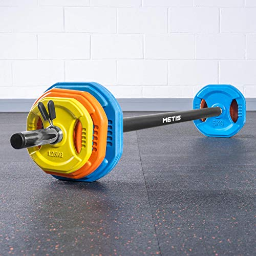 METIS Body Pump Weight Set - 20kg Adjustable Barbell Weights Set | Includes: 1x 2.5kg Barbell, 2x 5kg, 2x 2.5kg, 2x 1.25kg Weight Plates & Barbell Clips