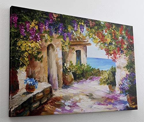 Gemälde Aquarell Mediteran Art Leinwand Canvas Bild Wandbild Kunstdruck L1594 Größe 70 cm x 50 cm