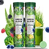 The Plant Fix Plix Green Elixir - Whole food Multivitamins for Immunity Boost, Digestion & Detox with Vitamin C, B12, D3, B6, Zinc and Iron in 21 Superfoods - 15 Effervescent Tablets - (2 tubes) hair pills Oct, 2020