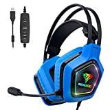 BENGOO USB Pro Gaming Headset for PC PS4 Console, 7.1 Surround Sound Gaming Headphones with Noise Cancelling Mic, in-Line Volume/Mic/EQ Control, Soft Memory Earmuffs RGB Lights for Laptop Mac Games