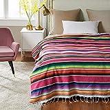 LMDY Couverture d'Ameublement Style Mexicain Table Bannière Nappe Serviette De Plage Multifonctionnelle Arc-en-Ciel Couverture Rose Rouge [150 * 180 CM] 720g