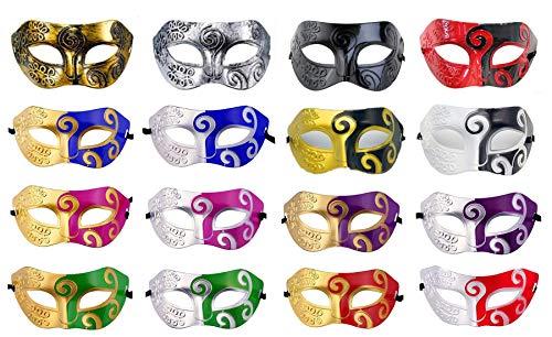 16 Pieces Unisex Masquerade Mask Mardi Gras Costume Party Acccessory