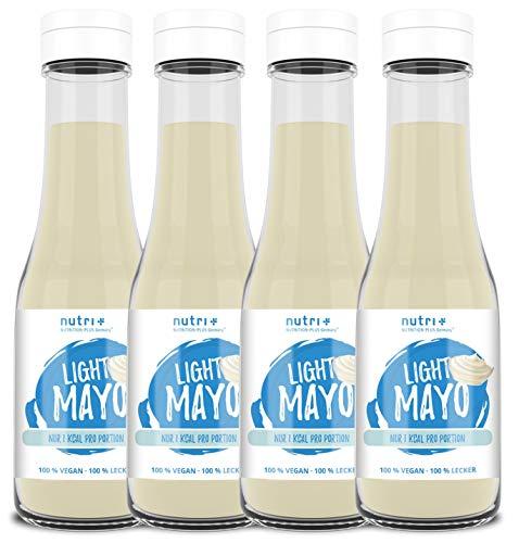 LIGHT MAYO ohne Zucker, Fett & Ei - 4x 350ml - VEGAN - nur 1 Kalorien pro Portion - Low Carb Sauce Zero - Zuckerfrei & Fettfrei - kalorienarm - Mayonnaise Geschmack ideal für Pommes 4er Pack