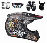 SYANO D.O.T - Casco de motocross para niños, estándar, casco completo de moto, casco de carretera con guantes, máscara, gafas y red para bicicleta de montaña, ATV, BMX, Downhill Offroad (M)