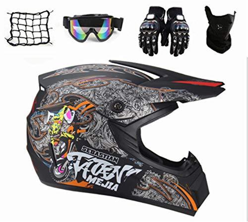SYANO Casco de motocross para niños D.O.T estándar, casco completo de moto, casco de carretera con guantes, máscara, gafas y red, para bicicleta de montaña, ATV, BMX, Downhill Offroad (L)