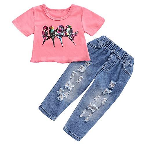 Borlai T-shirt met korte mouwen bedrukt baby meisje zomer schattig + broek elastische band scheuren denis 2 stuks