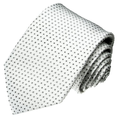 Lorenzo Cana - Marken Krawatte aus 100{79c2b7eccebda3751bf0ce2cf886303001c951bc105f9fa77e63333e907f9995} Seide in italienischer Tradition gefertigt - weiss grau anthrazit Punkte - 42008