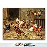 Malen Nach Zahlen Hühner 16 × 20' Leinwand Gemälde Für Erwachsene Und Kinder, Enthält Acrylfarben Und 3 Pinsel