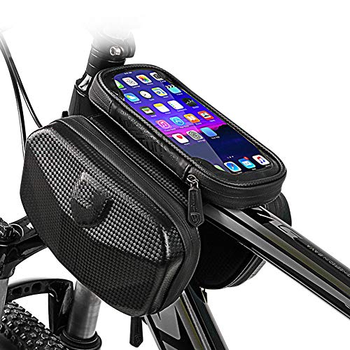 Lhh Bike Frame Bag, Waterproof Front Top Tube Bag with TPU Touch Screen Headphone Hole Suitable for Smartphones Under 6.0 Inches