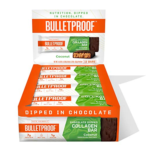 Chocolate Dipped Protein Bars, Coconut Cream, 7g Protein, 12 Pack, Bulletproof Grass Fed Healthy Snacks, Made with Collagen and MCT Oil