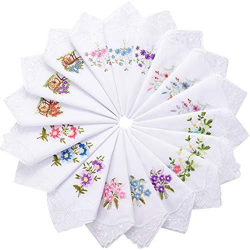 Geyoga 18 Damen Blume mit Spitze Baumwoll Taschentuch Bestickt Farbige Bestickte Baumwoll Taschentücher für Damen