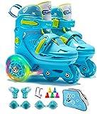 Rollschuhe Kinder Verstellbar Skates mit LED leuchtendem Rad Roller Skates Bequem und atmungsaktiv Quad Roll Schuhe für Mädchen,Jungen,Anfänger, Drinnen und draußen(Blau)