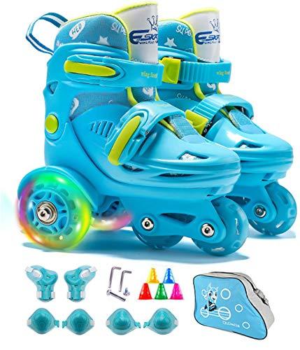 SVYHUOK Rullskridskor pojkar barn, justerbara fyrskridskor med upplysta hjul, blad rullskridskor skor storlek 5 av skostövlar, presentförpackning för ungdomar barn junior tonåringar (ålder 3-9)