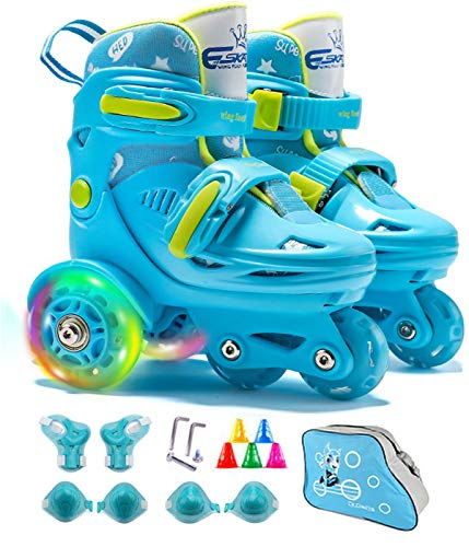 4-Pejiijar Adjustable Roller Skates for Girls & Boys with Light Up Wheels (Ages 5-12) – Roller Skates with Illuminating Wheels Blue