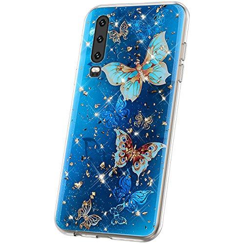 JAWSEU Compatible avec Coque Huawei P30 Transparente Silicone Glitter Paillette Brillant Belle Coloré Motif Slim Souple TPU Cristal Clair Housse per Huawei P30,Papillon Bleu