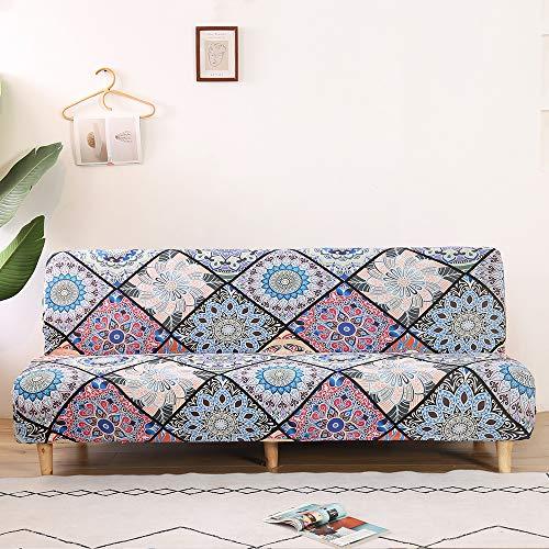 LiveGo Funda para sofá sin brazos, funda elástica con patrón geométrico para sofá cama, funda de asiento plegable completa para sofá o sofá (A-Flower)