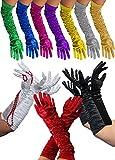 Foxxeo Lange Weisse Handschuhe für Damen zum 20er Jahre Charleston Kostüm - weiße Damenhandschuhe für KarnevalFasching Motto-Party