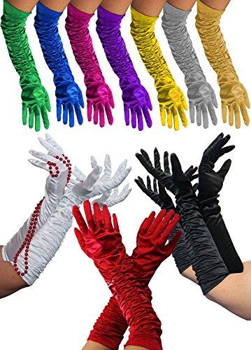 Foxxeo Lange Schwarze Handschuhe für Damen zum 20er Jahre Charleston Kostüm - XL Schnitt für Starke Arme – Abendhandschuhe für Karneval Fasching Motto-Party