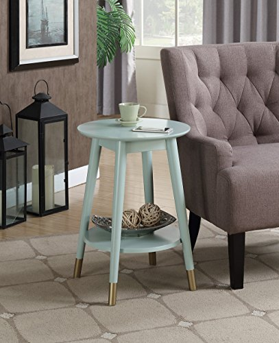 Convenience Concepts Wilson Mid Century Round End Table with Bottom Shelf, Sea Foam