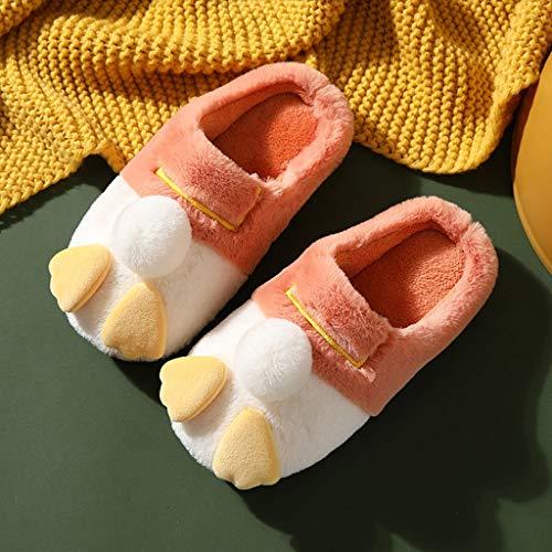 AYDQC Zapatillas para Mujer Interior Casa Linda Zapatos de algodón Caliente Encantadoras de Dibujos Animados Zapatillas de Interior Pareja tímido Peludo por Mujeres (Color : B, Size : 35-36)