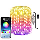 Abtong LED Fairy Lights USB Powered Fairy String Lights 10M 32.8ft RGB LED String Lights APP Sync Music Starry Light Bluetooth Twinkle Light Plug in Color Changing Wire String Light for Bedroom Patio