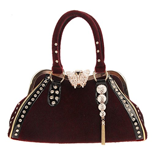 Exceart Leather Purse Handles Leather Bag Handbag Straps Shoulder Bag Strap Replacement Red
