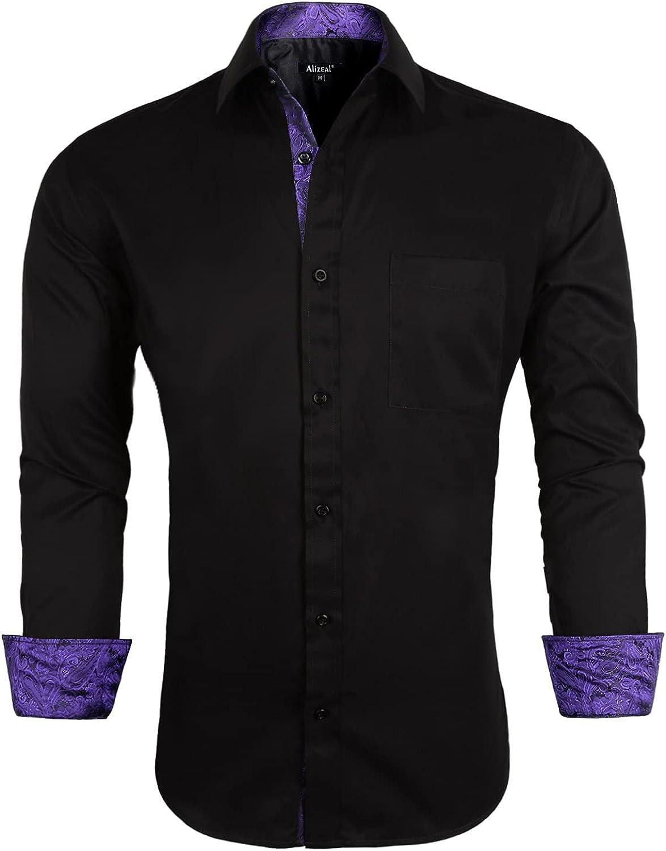 Alizeal Men's Business Slim Fit Dress Shirt Long Sleeve Patchwork Button Down Shirt