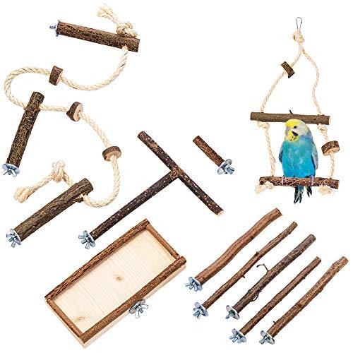 10 teiliges Grundausstattung Set mit GRATIS EINZELSITZER, Natur Sitzstangen Vogelschaukel, Sitzbrett, Anflugstange und Käfig Sitzseil für Wellensittich, Nymphensittich | Zubehör Vogelkäfig Spielzeug