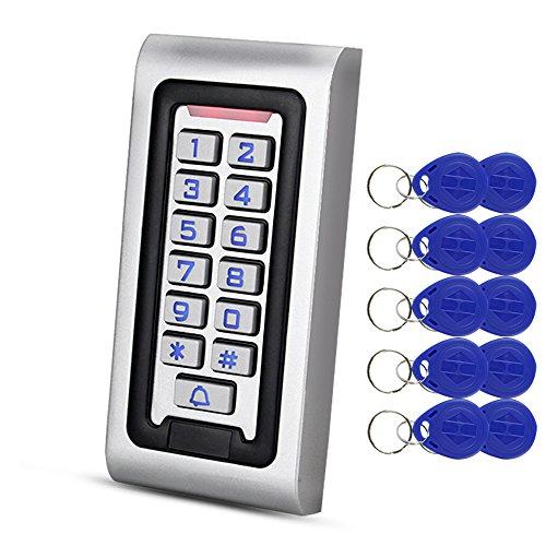 HFeng Independiente IP68 Impermeable RFID Teclado de Control de Acceso Lector de Tarjetas de Metal + 10 unids 125 KHz proximidad Llaveros WG26 2000 usuarios para el hogar / oficina