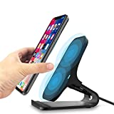 WELUV Wireless Charger Qi-Certified 10W Fast Wireless Charger Pad Station Compatible with iPhone X XR XS Max 8 Plus,Samsung S9/S9+/S8/S8+/Note 8 and More,2 Coils Heat Disspation Powerport Stand Black