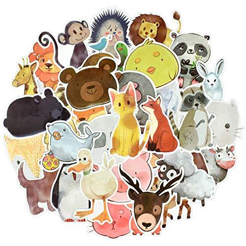 Cute Watercolor Animal Vinyl Stickers Bomb Laptop Water Bottle Folders (50Pcs/Pack)
