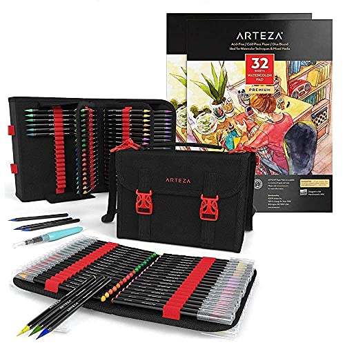 Arteza Real Brush Pens and Watercolor Paper Bundle, Drawing Art Supplies for Artist, Hobby Painters & Beginners